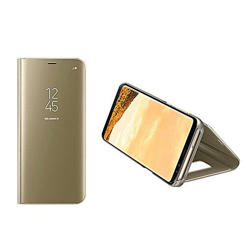 Aursen iPhone 7 Hülle Spiegel Clear View Standing Cover Flip Case Schutzhülle Klappcover Schutz-Tasche mit Standfunktion PU Premium Lederhülle Handyhülle Schale Etui für 4.7 Zoll iPhone 7 - Rose Gold Golden