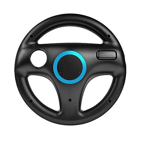 booEy® Lenkrad Wheel für Nintendo WII und Wii U Mario Kart schwarz (Wii Wheel)