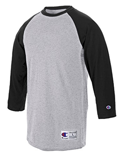 champion-t-shirt-de-sport-manches-3-4-homme-multicolore-gris-oxford-gray-black