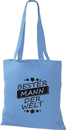 Borsa In Cotone Tote Bag In Cotone Best Man Nel Mondo Azzurro