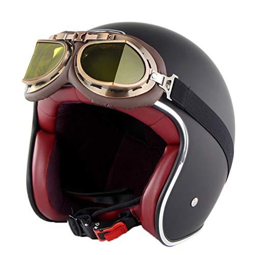 Harley Motorradhelm Erwachsene Retro Anti Collision Mesh Baumwollfutter Motorradhelme mit Brille Chopper Outdoor Open Face Moto Caps Hut für Motocross Racing