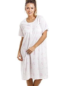 Camille - Morbida camicia da notte a fiori - lunghezza al ginocchio, mezze maniche - rosa