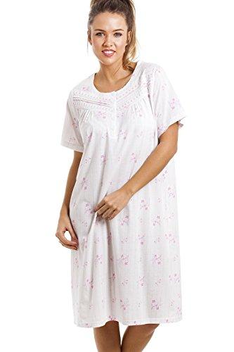 Chemise de nuit - longueur genou/manches courtes/douce/confortable - à fleurs - rose Rose