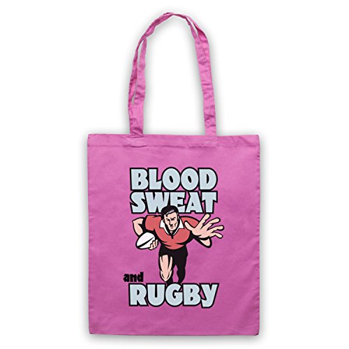 Blood Sweat And Rugby Rugby Slogan Umhangetaschen Rosa
