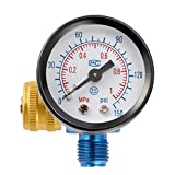 KKmoon Druckminderer, Luftdruckregler Paint Airbrush Spritzmaschine Einstellungsmanometer Druckregelventil Pneumatisches Werkzeugzubehör