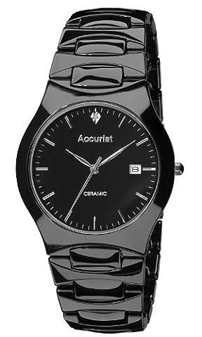 Accurist Gents Black Ceramic Case and Bracelet Watch MB992S