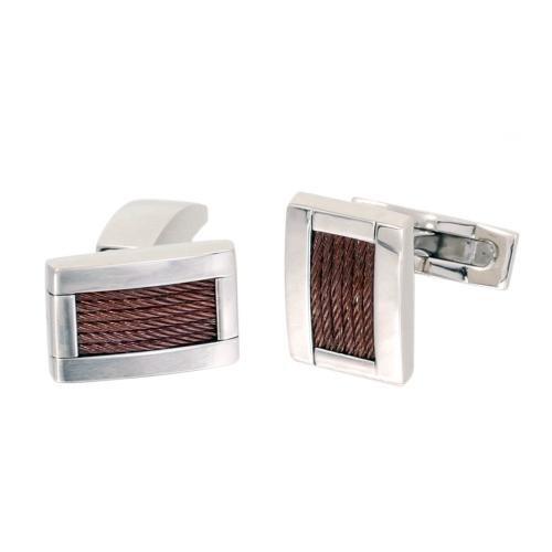 Phebus 85/0013-F-Boutons Herren-Manschettenknöpfe Edelstahl poliert/gebürstet 6 Stränge Kabel-IP-Kaffee