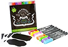 Roturadores de Tiza Pen Pirates - 8 piezas - 2/4mm. Inc. pegatinas de vinilo y cabezal intercambiable redondo/cuadrado. Marcadores de tiza líquida en colores llamativos, fáciles de borrar.
