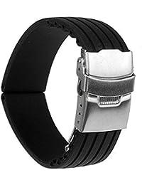 Generic - Silicona reloj correa de caucho band hebilla del despliegue de 22 mm a prueba de agua, color negro