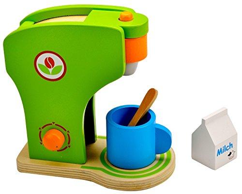 Idena 4100074 - Kleine Küchenmeister Kaffeemaschine aus Holz, ca. 19 x 11 x 20 cm, 4-teiliges Set