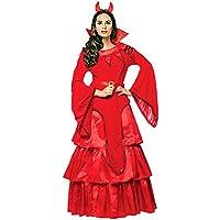 Disfraz de mujer Satán Novia Diablo Rojo Vestido Cuernos Diablo Mujer Vestido de fiesta (L