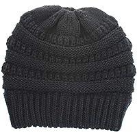 Sombrero de Mujer, Sombrero de Punto de Color sólido, Sombrero Casual de Hombre,Darkgray