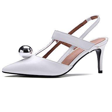 LvYuan Sandalen-Büro Kleid Lässig-Leder-Stöckelabsatz-Club-Schuhe-Schwarz Weiß White