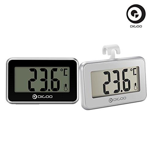2 DIGOO Mini-Kühlschrank mit Gefrierfach Thermometer, Digitalthermometer und Mehrzweck-Haken Zimmer wasserdicht LCD-Monitor in der Familie Restaurant Bar Cafe Indoor Outdoor schwarz und Silber