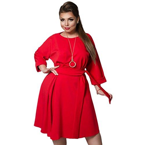 Linnuo vestito taglie forti a pieghe donna vestiti con cintura sera party cocktail tinta unita vestitini abiti (rosso,cn 3xl)