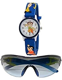 sba prime Multicoloured Sports Sunglasses & Watch for Age 3 to 10 Years Boys.(Combo)
