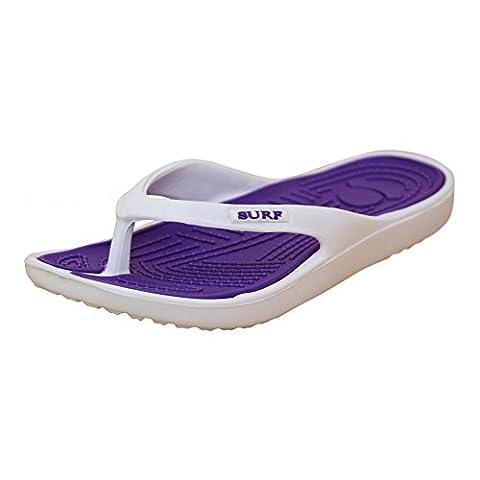 Ladies White Purple Eva Toe Post Flip Flop Surf Sandals Summer Flat Beach Shoe, 8 UK / 41 EU