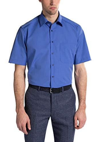 Preisvergleich Produktbild eterna Kurzarm Hemd Comfort FIT Fil à Fil unifarben,  Blau,  W47,  Länge Kurzarm