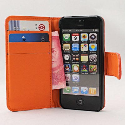 Webkaufhaus24 Étui de protection à rabat en cuir pour iPhone 5 vert orange