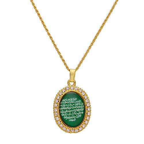 Memoir Gold plated CZ Green base Arabic Quran verse Islamic muslim chain...