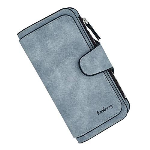 Laynos Geldbörse für Frauen, Leder, Clutch, lange Damen, Kreditkarten-Halter Organizer - Blau - Einheitsgröße (Hand-taschen Unter 20 Dollar)