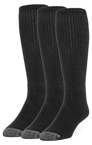 Galiva Damen Socken, gehen bis über die Wade, gepolsterte extra weiche, Kniestrümpfe Baumwollsocken - 3 Paar, Groß, Schwarz - Gepolsterte Womens Athletische Socken