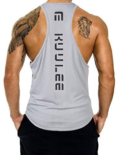KUULEE Herren Gym Stringer Fitness Tank Top Herren Funktionelle Sport Bekleidung Bodybuilding T-Shirt Trainingsshirt ärmellos Weste Muskelshirt (Verpackung MEHRWEG) -
