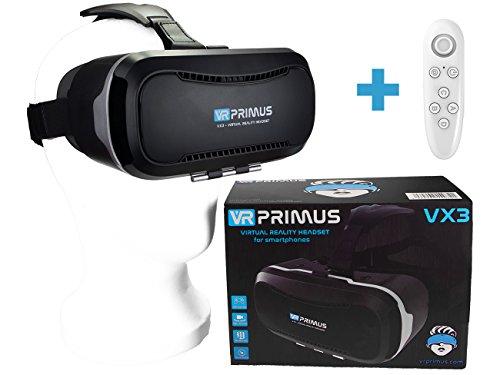 VR-PRIMUS® VX3 VR Brille, kompatibel mit Handys bis 5.8 Zoll z.B. iPhone 7 8 X XS, Android, Samsung S6 S7 S8 S9, Huawei p10 p20,LG G6. Mit Google Cardboard Apps.|+ Fernbedienung für Android Handy \'s
