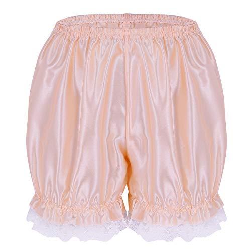 Tiaobug Damen Unterhose langes Bein Schlüpfer Slip mit Rüschen Spitze Frauen Sicherheits Shorts Unterwäsche Leggings Kurz Mit Spitze Yoga Hose Shorts Tanzen M-XL Perle rosa B S(Taille 58-110cm)