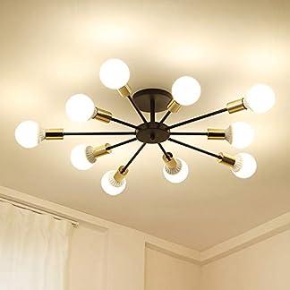 """Dellemade – Lampadario """"Sputnik"""", a 10 luci, in stile vintage, per sala da pranzo, soggiorno, cucina, ufficio, caffetteria, ristorante, colore: nero"""