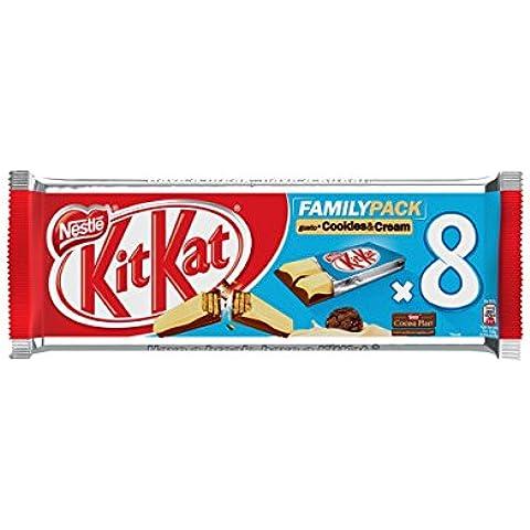 NESTLÉ KITKAT FAMILY 2 FINGER COOKIES&CREAM snack con wafer croccante al gusto di biscotto ricoperto con cioccolato al latte e cioccolato bianco 8 snack da 20,7g