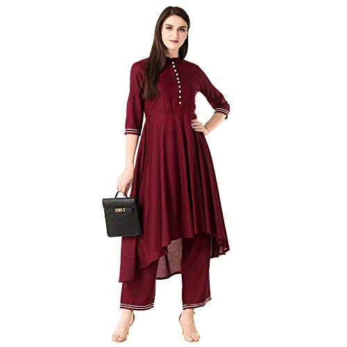 Khushal K Womens Rayon Kurta With Printed Palazzo Set