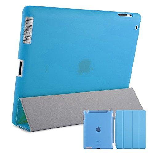 doupi Cover & Case für Apple iPad 2 3 4 mit Smart An/Aus Funktion Etui Schutz Hülle Kunstleder Klappe Schutzhülle Matt Clear Transparent Schale Ständer Tasche blau