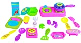 #9: NOVICZ 21 Peices Kids Kitchen set for Girls with Cup Sets - Good Gift for Kids