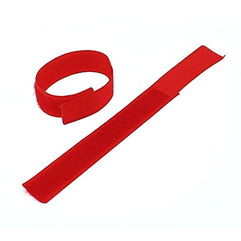 sourcingmap® Collant Auto-adhésif Crochet Boucle Bande Fermoir Rouleau Rouge 5pcs