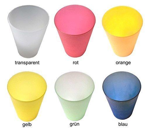 6 Plastik Trinkbecher 0,4 l - Mix-Pack - verschiedene Farben - Mehrwegtrinkbecher / Partybecher / Becher