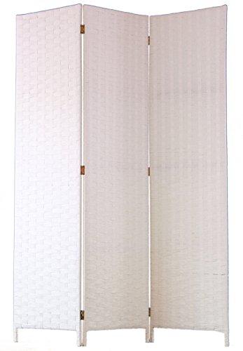 PEGANE Biombo de Fibras Naturales de 3 Paneles, Color Blanco - Dim : A