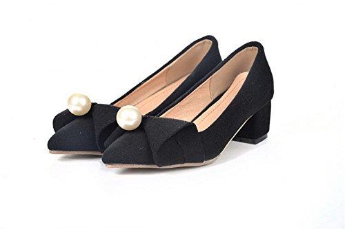 AllhqFashion Femme Tire à Talon Bas Suédé Mosaïque Pointu Chaussures Légeres Noir