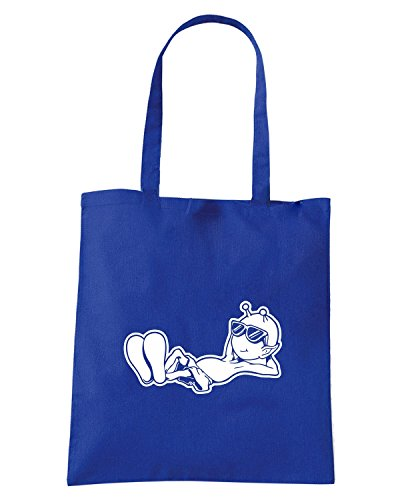 T-Shirtshock - Borsa Shopping FUN0550 alien printed on white decals 3 59677 Blu Royal