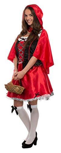 fasching rotkaeppchen Brandsseller Damen Kostüm - ROTKÄPPCHEN - Kleid mit Kapuze - Fasching Karneval Junggesellenabschied- Größe: S/M