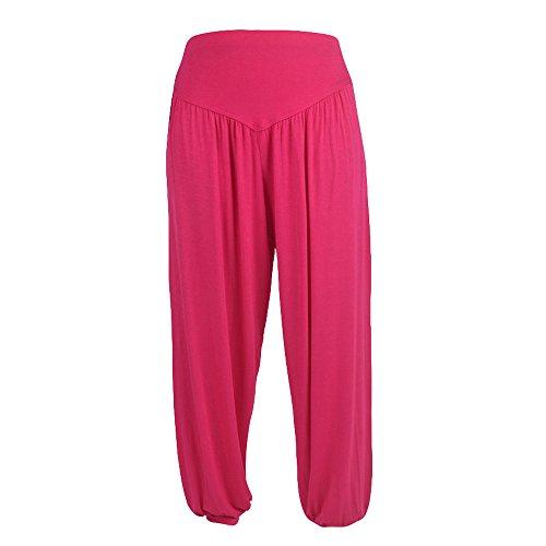 QINPIN Große Größe einfarbig lose beiläufige Yogahose Laterne breite Beinhosen stieg rot XXL