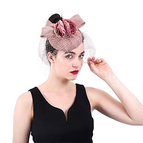 MELLRO Cocktail Haarband Für Royal Ascot Cocktail Tea Party Bogen Hut Mit Blume Net Brille Fall Hochzeit Haarspange (Brautjungfer Mit Brille)