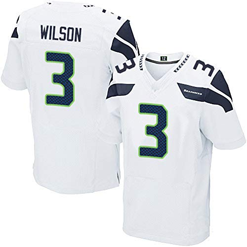 Majestic Athletic NFL Football Seattle Seahawks 3# Wilson Name Number T-Shirt Jersey Navy Trikot,White,Kids-M