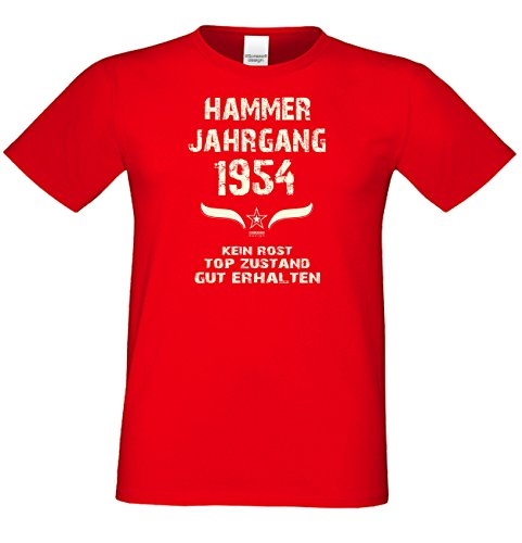 Geschenk zum 63. Geburtstag :-: GeschenkIdee Herren Geburtstags-Sprüche-T-Shirt mit Jahreszahl :-: Hammer Jahrgang 1954 :-: Jubiläumsgeschenk :-: Farbe: rot Rot