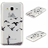 Galaxy J5 2015 Cover, KKEIKOŽ Galaxy J5 2015 Case, Flexible Soft TPU Protective Cover, Bumper Shell Ultra Thin Skin Case for Samsung Galaxy J5 2015 with Free Tempered Glass Screen Protector (Bird)