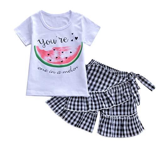 Alwayswin Kind Baby Mädchen Cartoon Outfits Set Sommer Babykleidung Kinder Kurzarm Cartoon-Top Obst Brief Drucken T-Shirt Plaid Shorts Baumwollmischung Rundhals-Kurzarmhemd