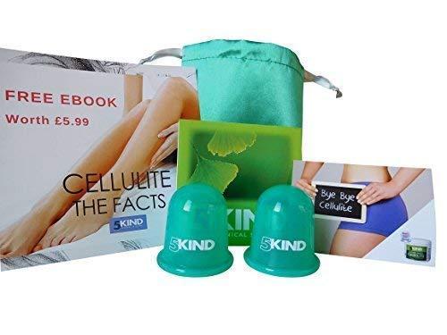5kind kit coppetta anticellulite in silicone 2 pezzi | set borsetta da viaggio + istruzioni complete + ebook su cellulite + buono sconto per 5kind crema anticellulite | riduzione visibile cellulite