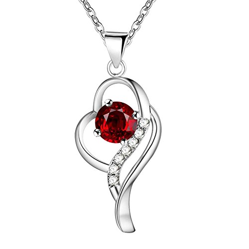 Onefeart Plata Esterlina Colgante Collar Para Mujeres Chicas Rojo Cristal Oblicuo Corazón Collar 45CMx38X15MM