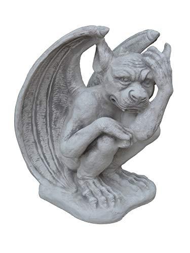 gartendekoparadies.de Große Massive Steinfigur Gargoyle – Der Nachdenkliche aus Steinguss frostfest