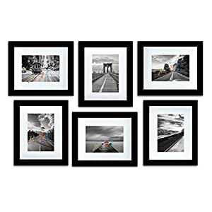 """Art Street Decorative Photo Frame Set of 6 Individual Wall Picture Frame (8"""" X 10"""" Picture Size matted to 6x8) - Black"""